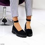 Туфлі жіночі чорні з ремінцем натуральна замша, фото 5