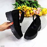 Туфлі жіночі чорні з ремінцем натуральна замша, фото 7
