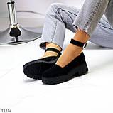 Туфлі жіночі чорні з ремінцем натуральна замша, фото 8