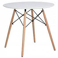 Стол кухонный круглый обеденный белый на кухню маленький лакированный МДФ на ножках бук Bonro на 90 см