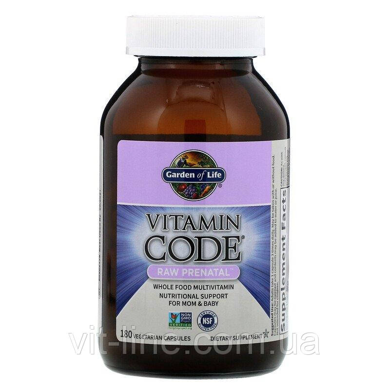 Garden of Life, Витамины для беременных Vitamin Code, RAW Prenatal, 180 вегетарианских капсул