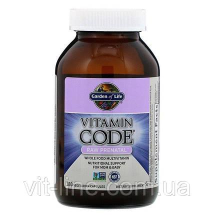 Garden of Life, Витамины для беременных Vitamin Code, RAW Prenatal, 180 вегетарианских капсул, фото 2