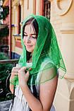 Платок женский шифоновый церковный однотонный с золотистой клеткой цвет зеленый 80*80, фото 2