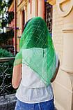 Платок женский шифоновый церковный однотонный с золотистой клеткой цвет зеленый 80*80, фото 3