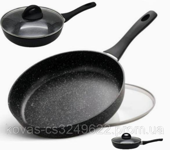 Сковорода з кришкою Edenberg EB-3426 - 20 22 24 26 28 см, мармур