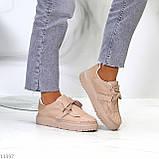 Жіночі бежеві кросівки еко-шкіра + гума, фото 5