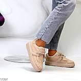 Жіночі бежеві кросівки еко-шкіра + гума, фото 6