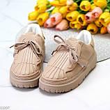 Жіночі бежеві кросівки еко-шкіра + гума, фото 4