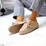 Жіночі бежеві кросівки еко-шкіра + гума, фото 3