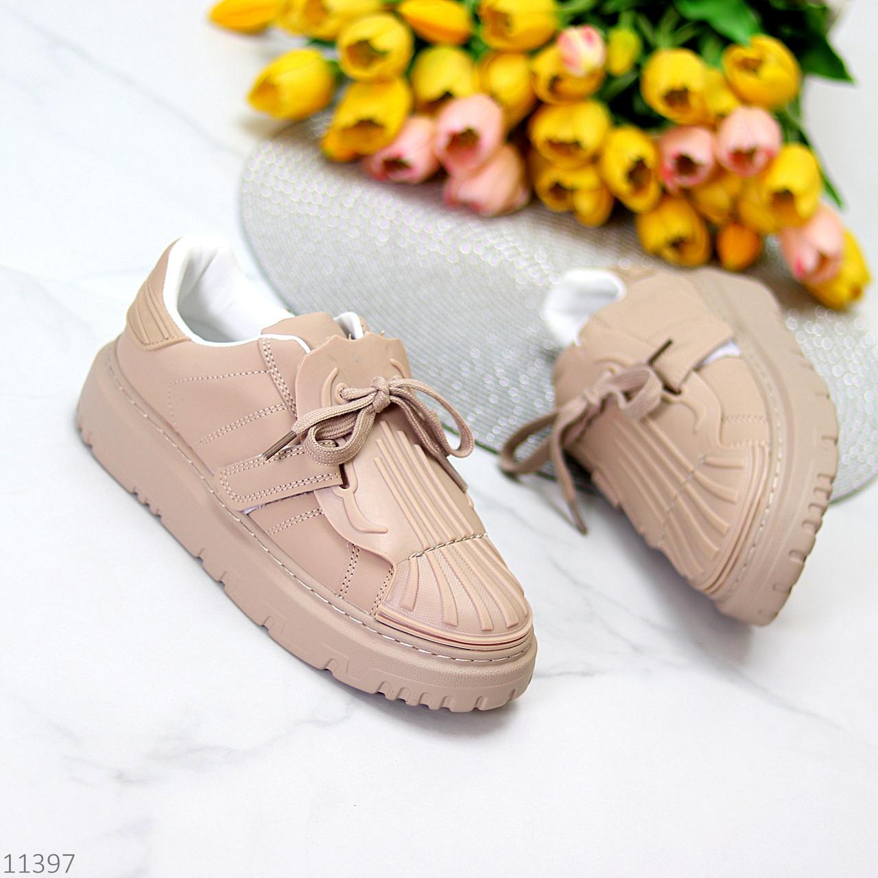 Жіночі бежеві кросівки еко-шкіра + гума