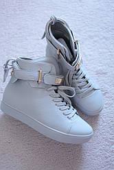 Женские ботинки серые со шнурками высокие кроссовки 36-41
