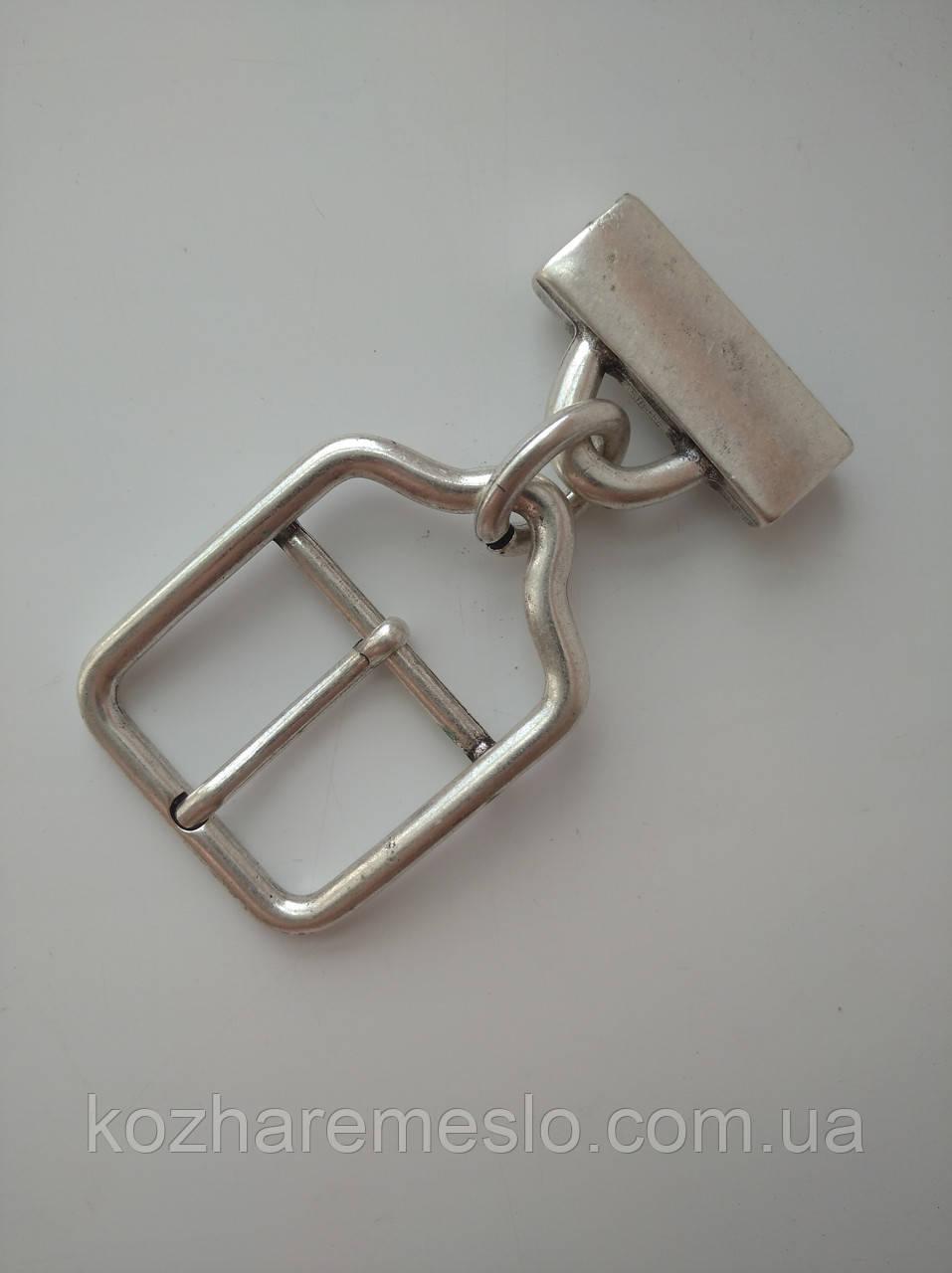 Пряжка лита для ременя 40 мм старе срібло