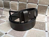 Черный кожаный ремень 140см.