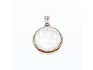 Срібний кулон з каменем Ахроїт (білий Турмалін)