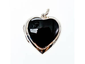 Срібний кулон з чорним агатом Серце