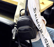 Жіночий міні рюкзак з хутряним брелоком маленький рюкзак з екошкіри Aliri-00131 чорний