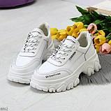 Кросівки білі на платформі з натуральної шкіри, фото 2