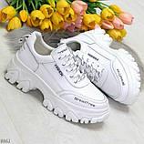 Кросівки білі на платформі з натуральної шкіри, фото 9