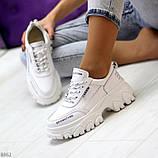 Кросівки білі на платформі з натуральної шкіри, фото 10