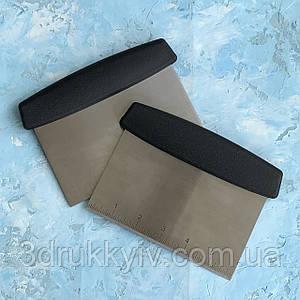 Шпатель кондитерський рівний з розміткою, нержавіюча сталь 15 см/ Шпатель-скребок кондитерский з разметкой