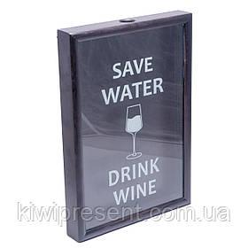 Копилка для винных пробок 250015 48х33х5,5 см. черная Save water