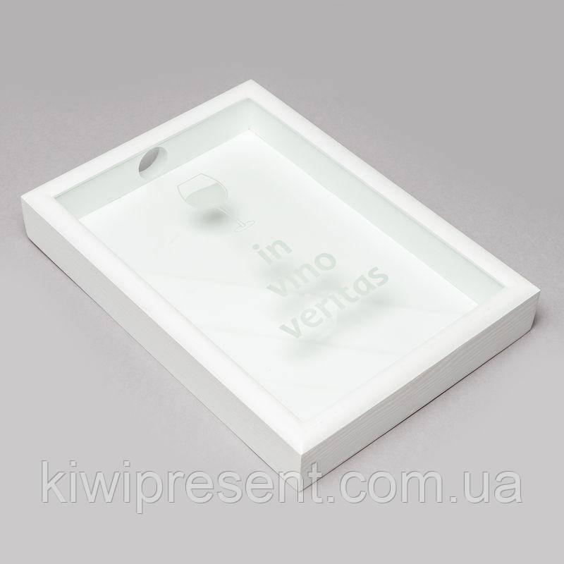 Скарбничка для винних пробок BST PRK-01 48х33х5,5 див. біла In vino veritas велика