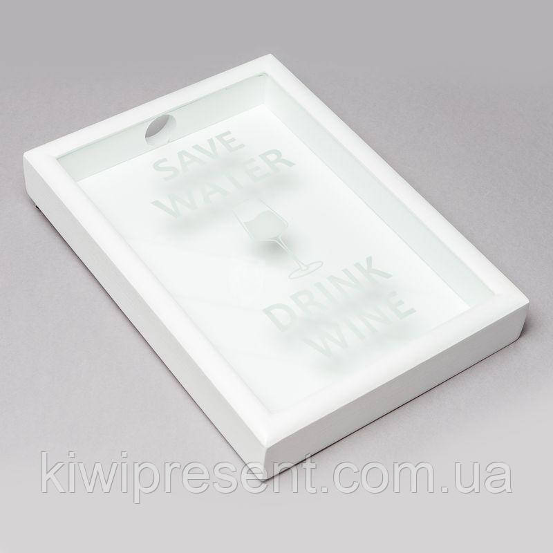 Копилка для винных пробок BST PRK-32 38х28 см. Save Water drink wine белая