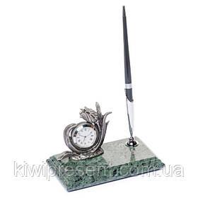 Подставка для ручки с часами BST 540012 16х10 мраморная
