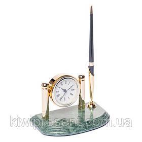 Підставка для ручки з годинником BST 540016 16х10 мармурова