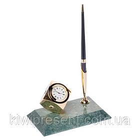 Подставка настольная BST 540017 16х10 с часами для ручки мраморная
