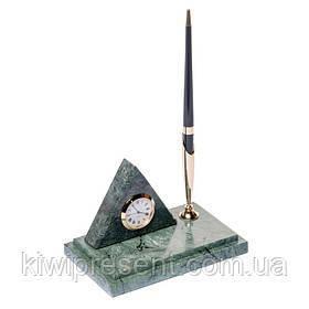 Підставка на стіл з годинником для ручки BST 540018 16х10 мармурова Піраміда