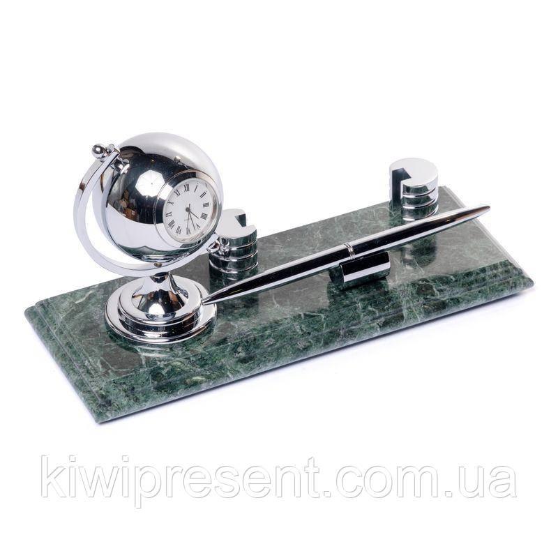 Настільна підставка для візиток під ручку з годинником BST 540042 24х10 мармурова