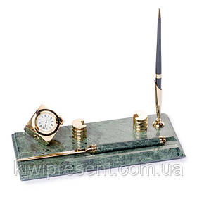 Настільна підставка візитниця BST 540053 24х10 з ножем для розкриття листів годинами і ручкою мармурова