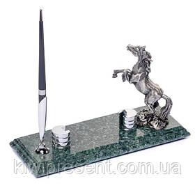 Подставка для визиток и ручки  BST 540062 24х10 мраморная Жеребец
