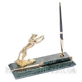 Подставка для ручки BST 540065 24х10 с ножом для вскрытия писем на стол руководителя мраморная Леопард
