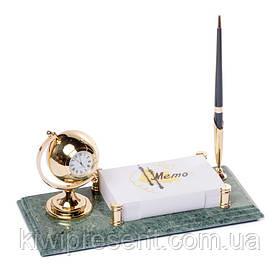 Подставка на стол руководителя BST 540069 24х12 с ручкой с держателем для бумаг и часами мраморная
