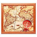 Піднос на подушці BST 710051 44*36 коричневий компас на карті, фото 2