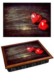 Піднос на подушці BST 710055 44*36 коричневий кольоровий два серця