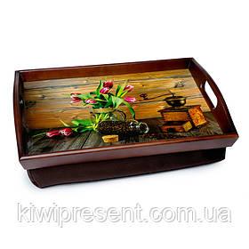Піднос подушка з ручками 48*33 коричневий BST 710045