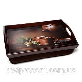 Піднос на подушці з ручками BST 710047 48*33 коричневий Чайник