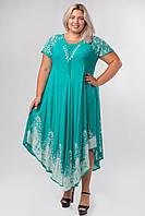 Платье разлетайка бирюзовое длинное с белым батиком, на 48-58 размеры