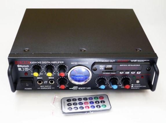 Підсилювач звуку, AV-339BT + USB + Fm + Mp3 + КАРАОКЕ + Bluetooth