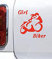 Вінілова наклейка на авто - Дівчина на мітлі 15х12 см