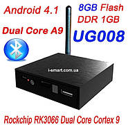 UG008-II / MK819 Mini Android TV Box TV Dongle Andriod PC Anroid 4.1 RK3066 Dual Core Bluetooth RJ45 AV Output