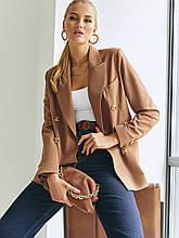Двубортный пиджак с отложным воротником коричневый, 46