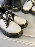 Белые туфли в стиле мартинс, броги из натуральной кожи, фото 3