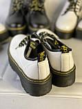 Белые туфли в стиле мартинс, броги из натуральной кожи, фото 7
