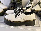 Белые туфли в стиле мартинс, броги из натуральной кожи, фото 4