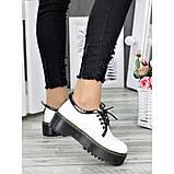 Белые туфли в стиле мартинс, броги из натуральной кожи, фото 8
