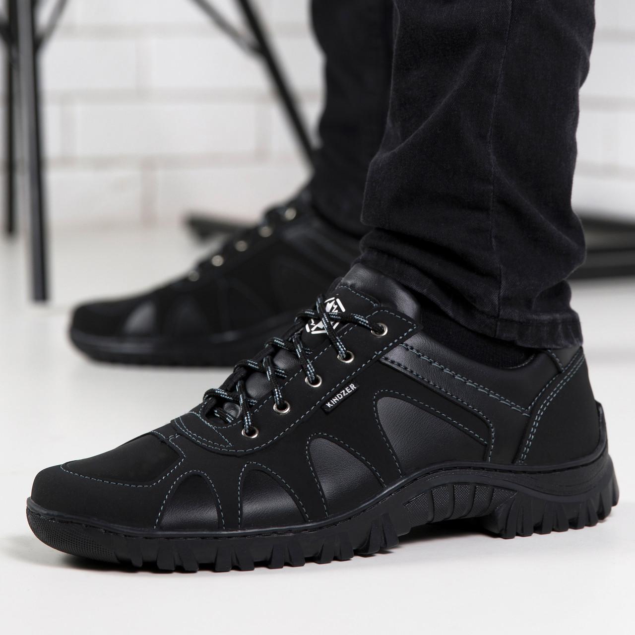 Чоловічі кросівки чорні з прошитою підошвою